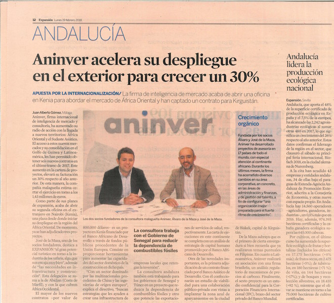 Aninver in Expansion, the main financial Spanish newspaper