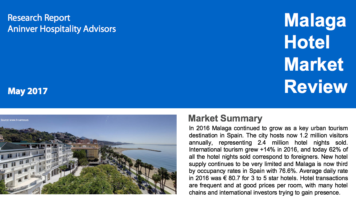 Malaga Hotel Market Review 2016. A Research Report by Aninver