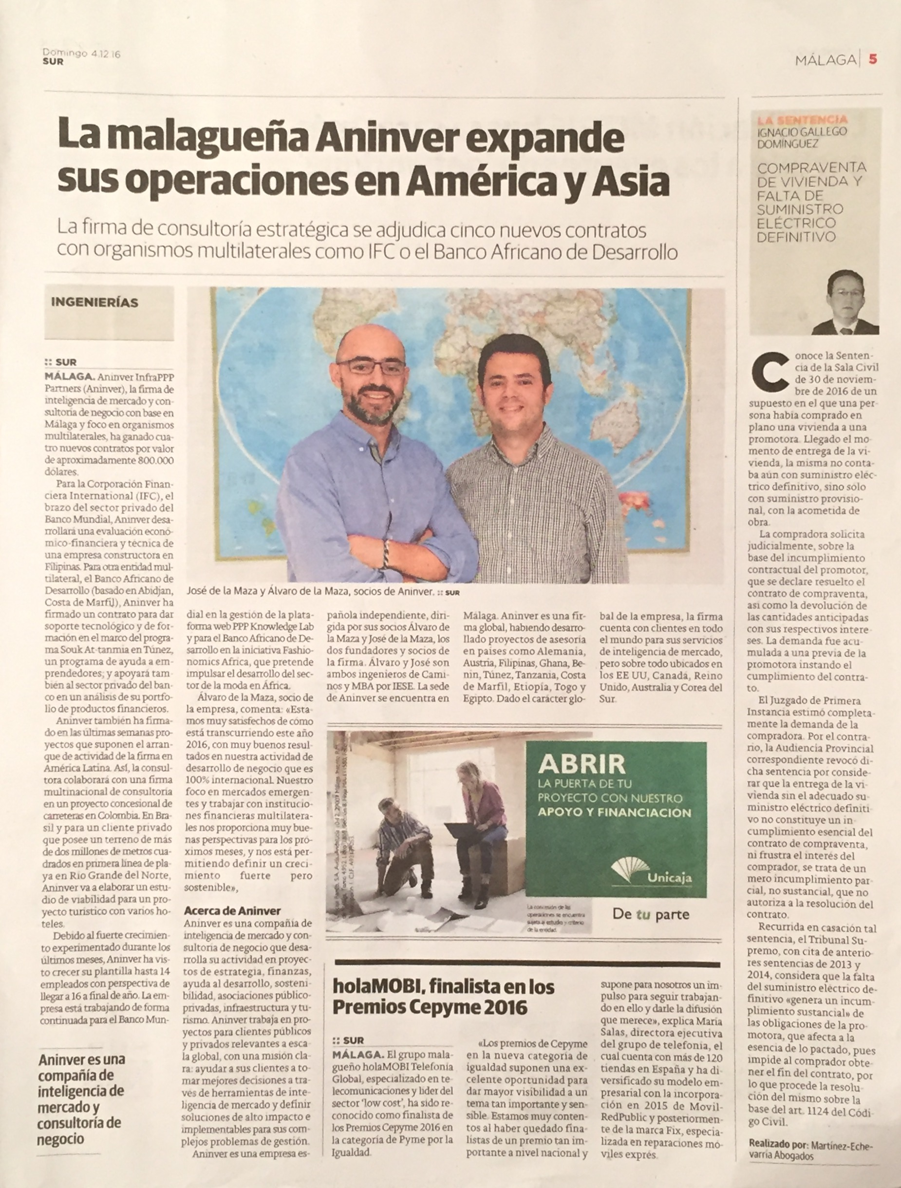 Diario Sur publishes about Aninver